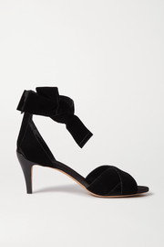 Chloé Chris bow-embellished velvet and patent-leather sandals