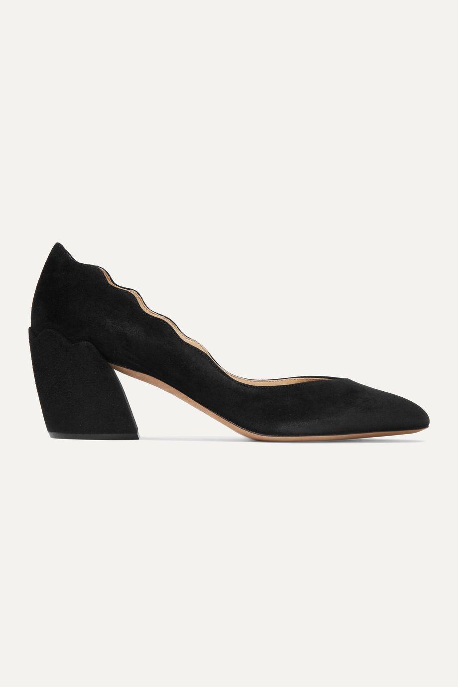 Chloé Laurena 扇贝边绒面革中跟鞋