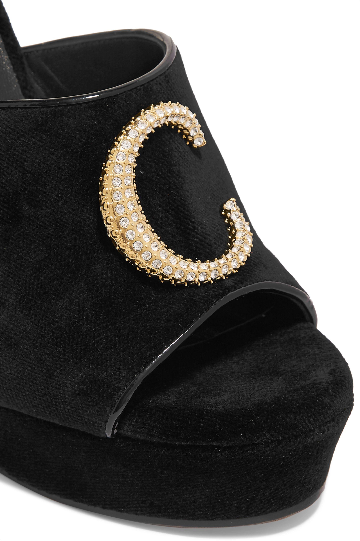 Chloé Chloé C logo-embellished velvet platform sandals