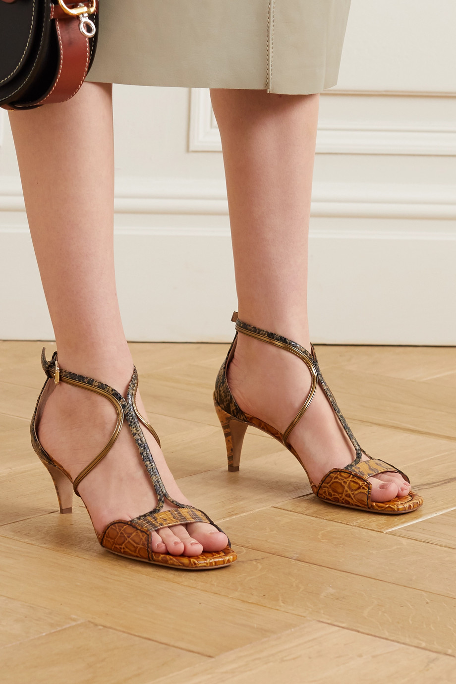 Chloé Carla snake- and croc-effect leather sandals