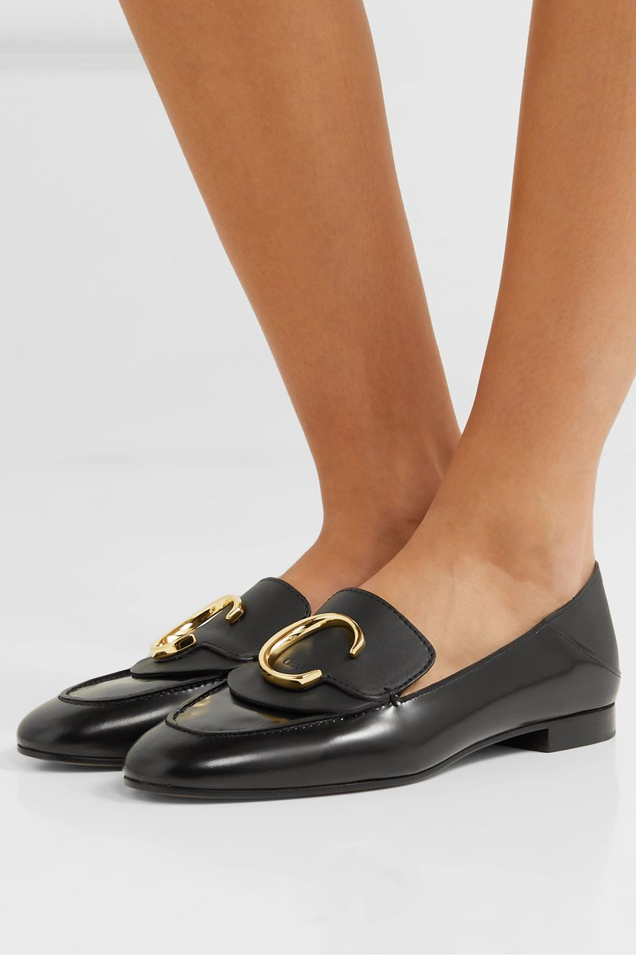 Chloé Chloé C logo-embellished leather collapsible-heel loafers