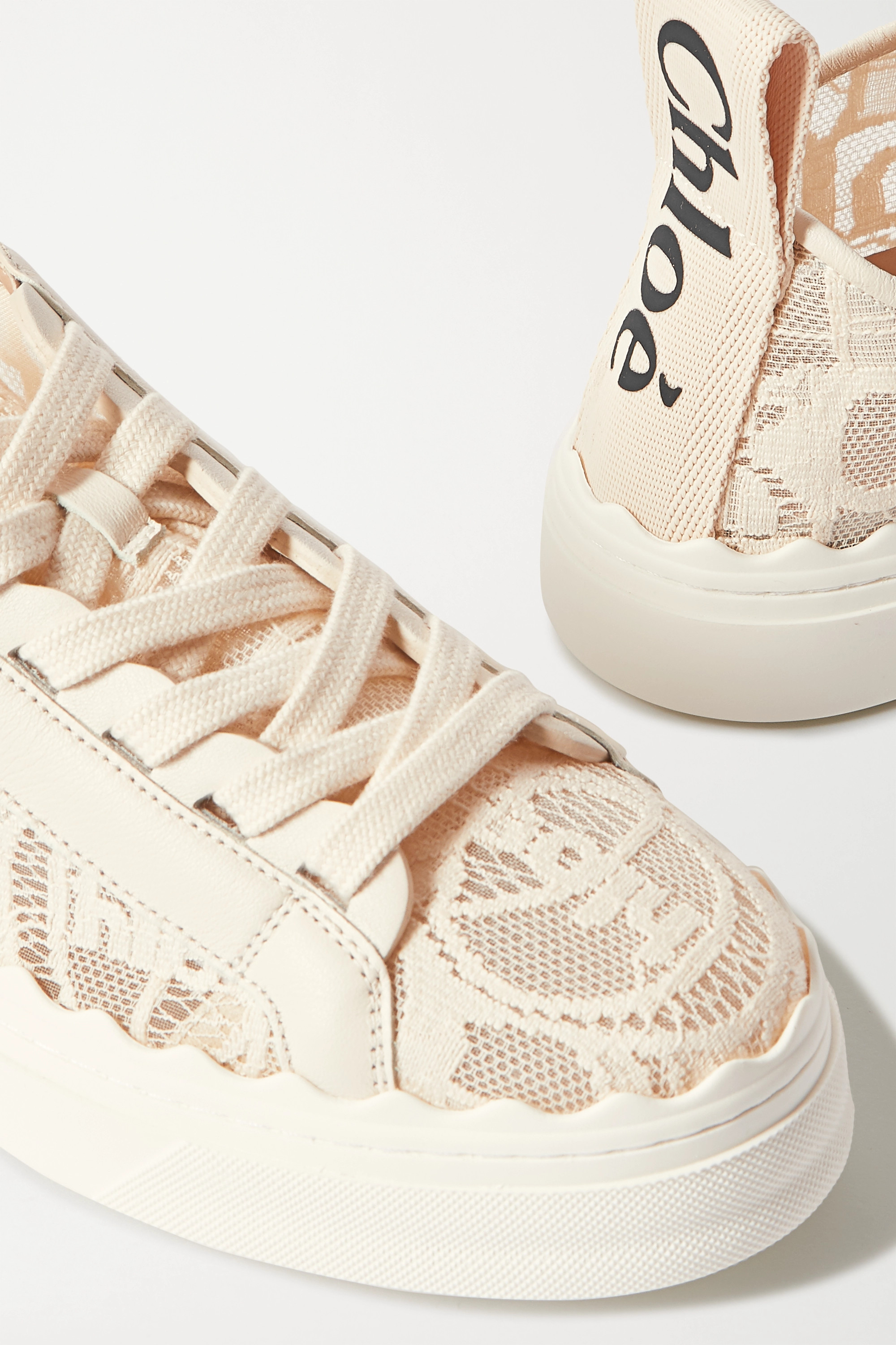 Chloé Lauren scalloped lace, leather and canvas sneakers