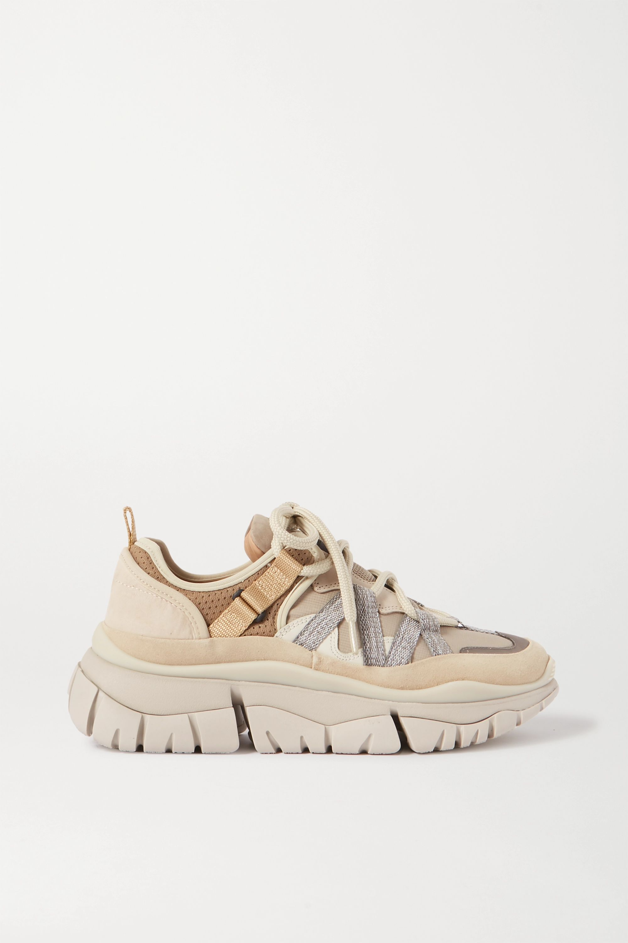 Beige Blake suede, leather and mesh