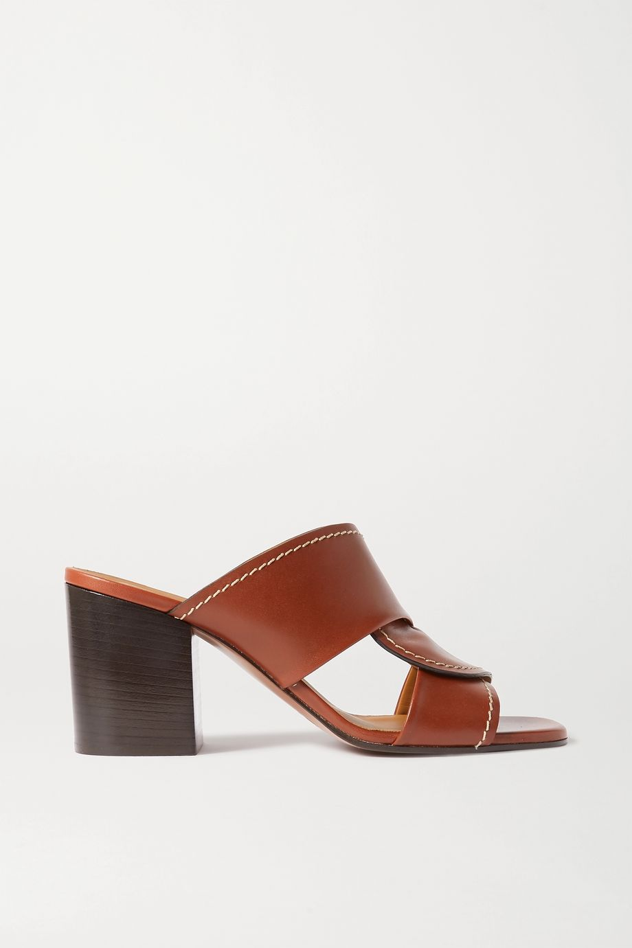 Chloé Candice topstitched leather mules