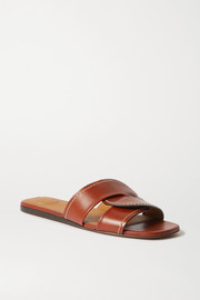 Chloé Candice topstitched leather slides