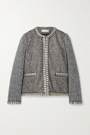 Tory Burch Crystal-embellished jacquard-knit and wool-blend tweed jacket