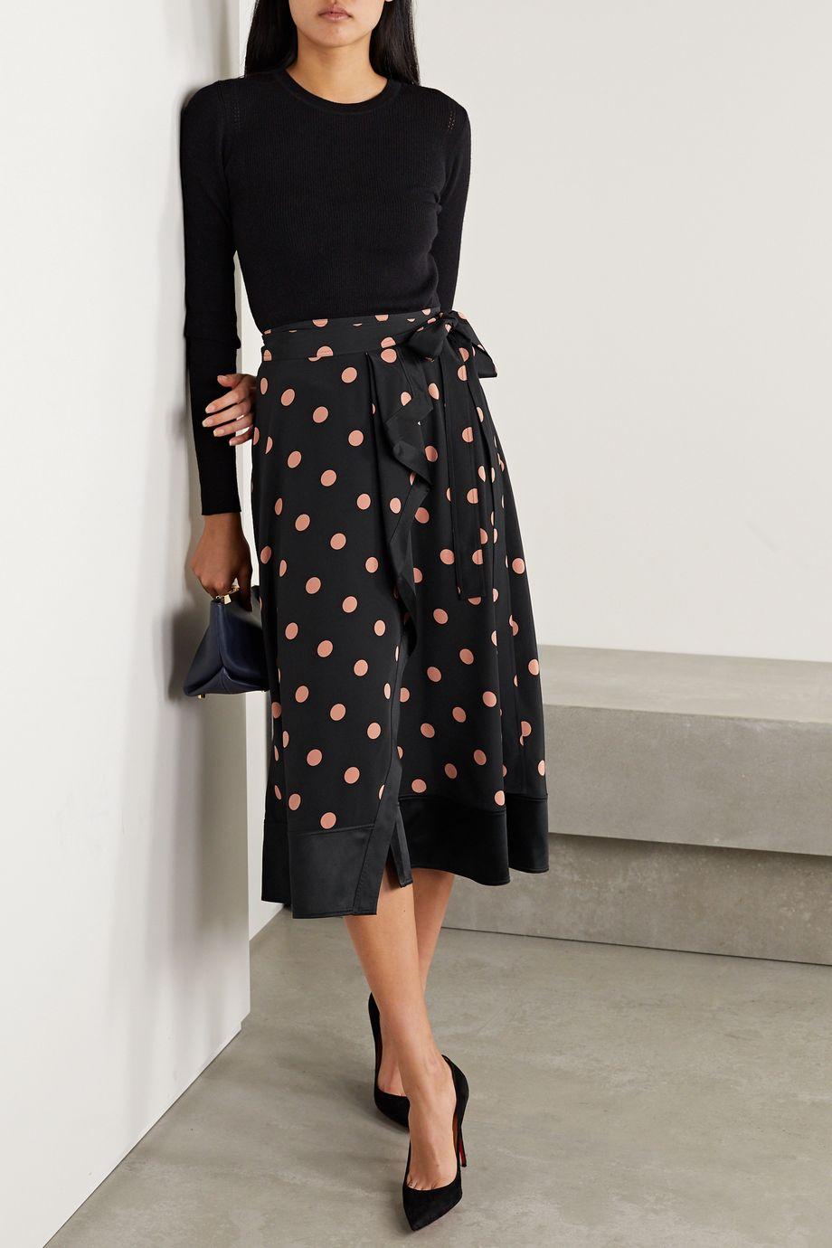 Tory Burch Ruffled satin-trimmed polka-dot silk-crepe wrap skirt