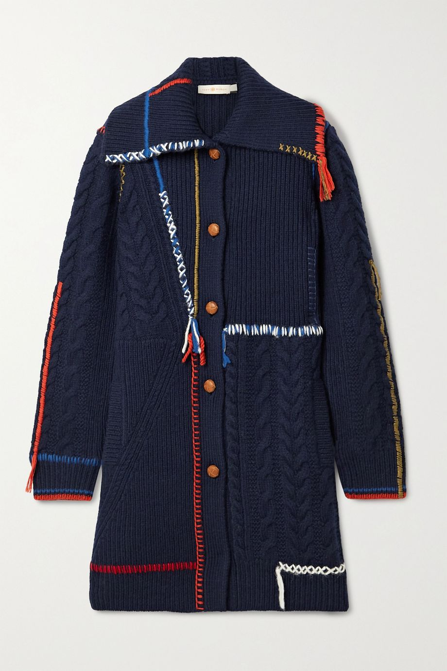 Tory Burch Embroidered fringed cable-knit wool cardigan