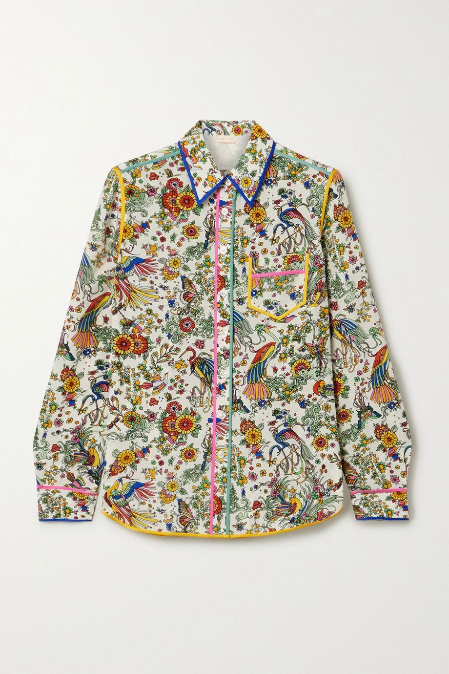 Tory Burch Piped printed silk crepe de chine shirt