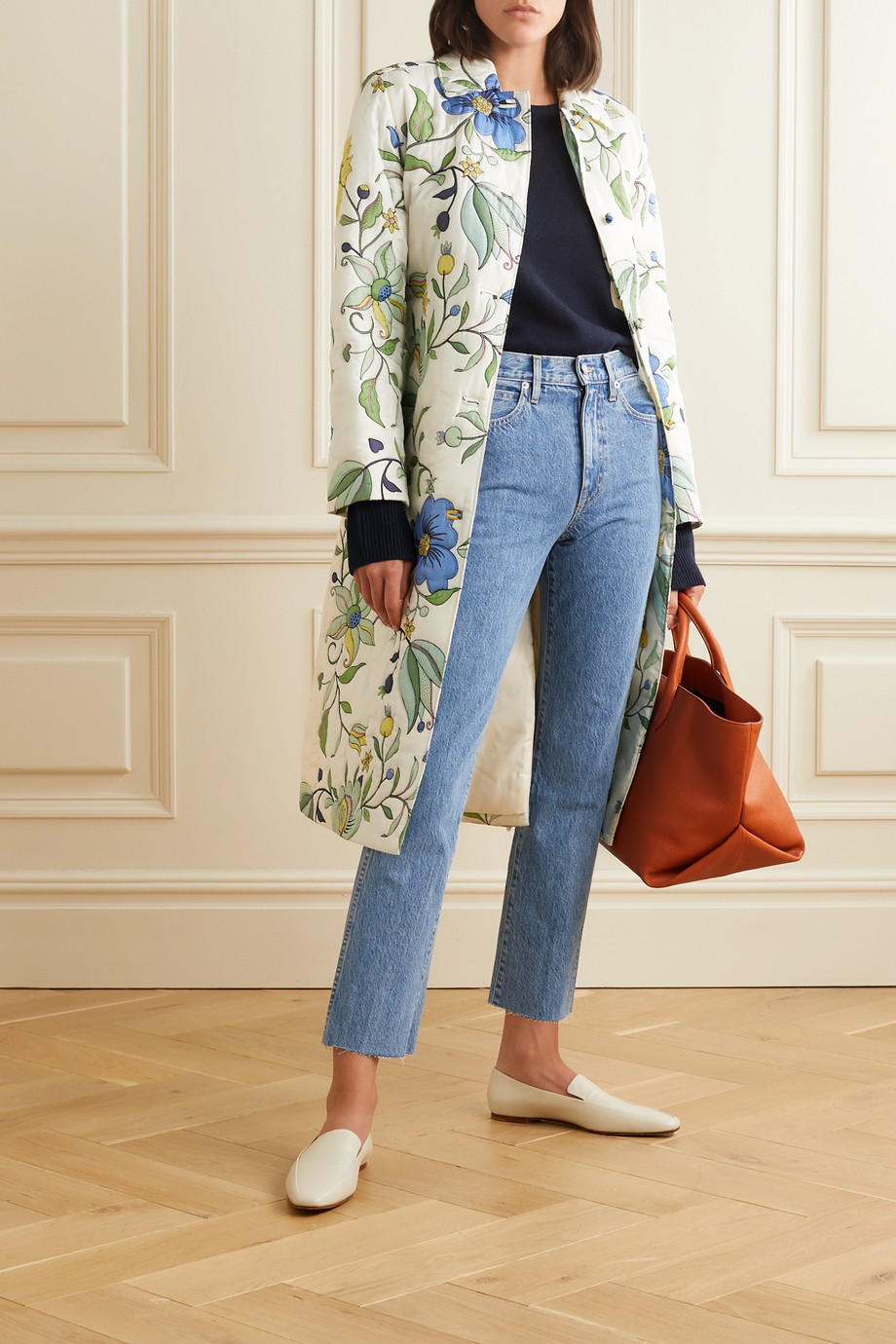 Tory Burch Belted quilted floral-print silk-satin coat