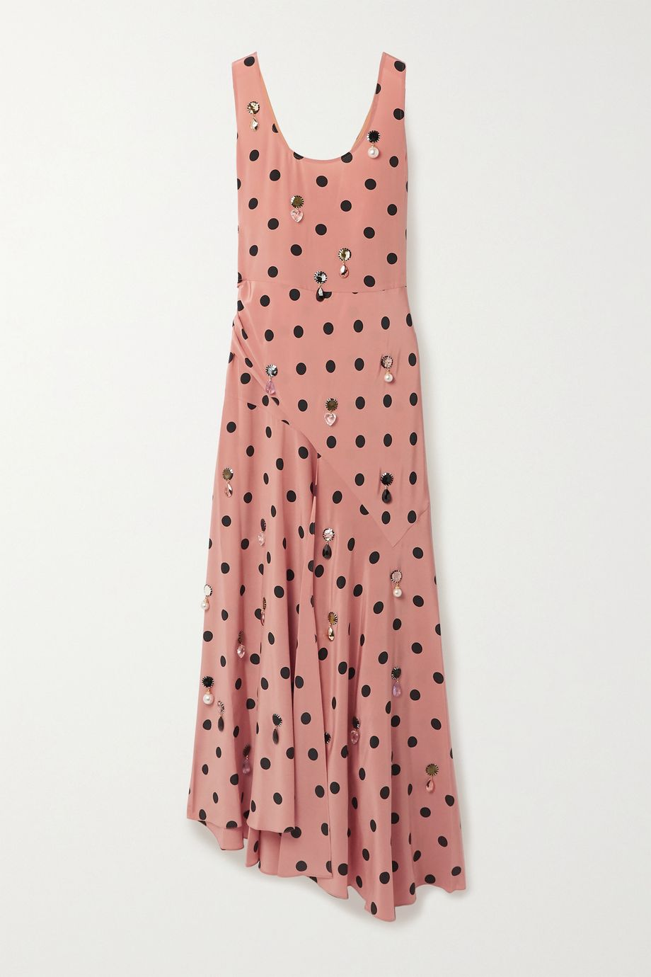 Tory Burch Embellished draped polka-dot silk-georgette maxi dress
