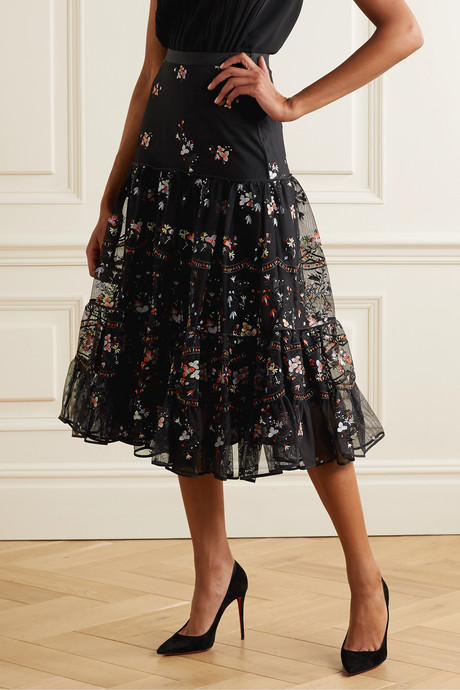 Crepe-trimmed embroidered tulle midi skirt