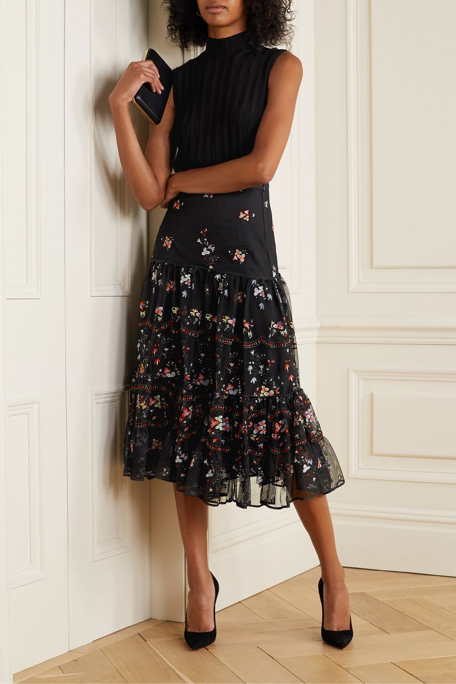Tory Burch Crepe-trimmed embroidered tulle midi skirt