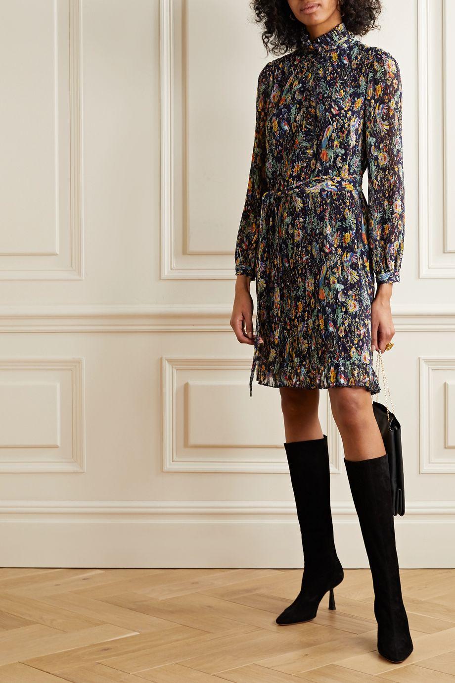 Tory Burch Deneuve ruffled floral-print plissé-georgette dress