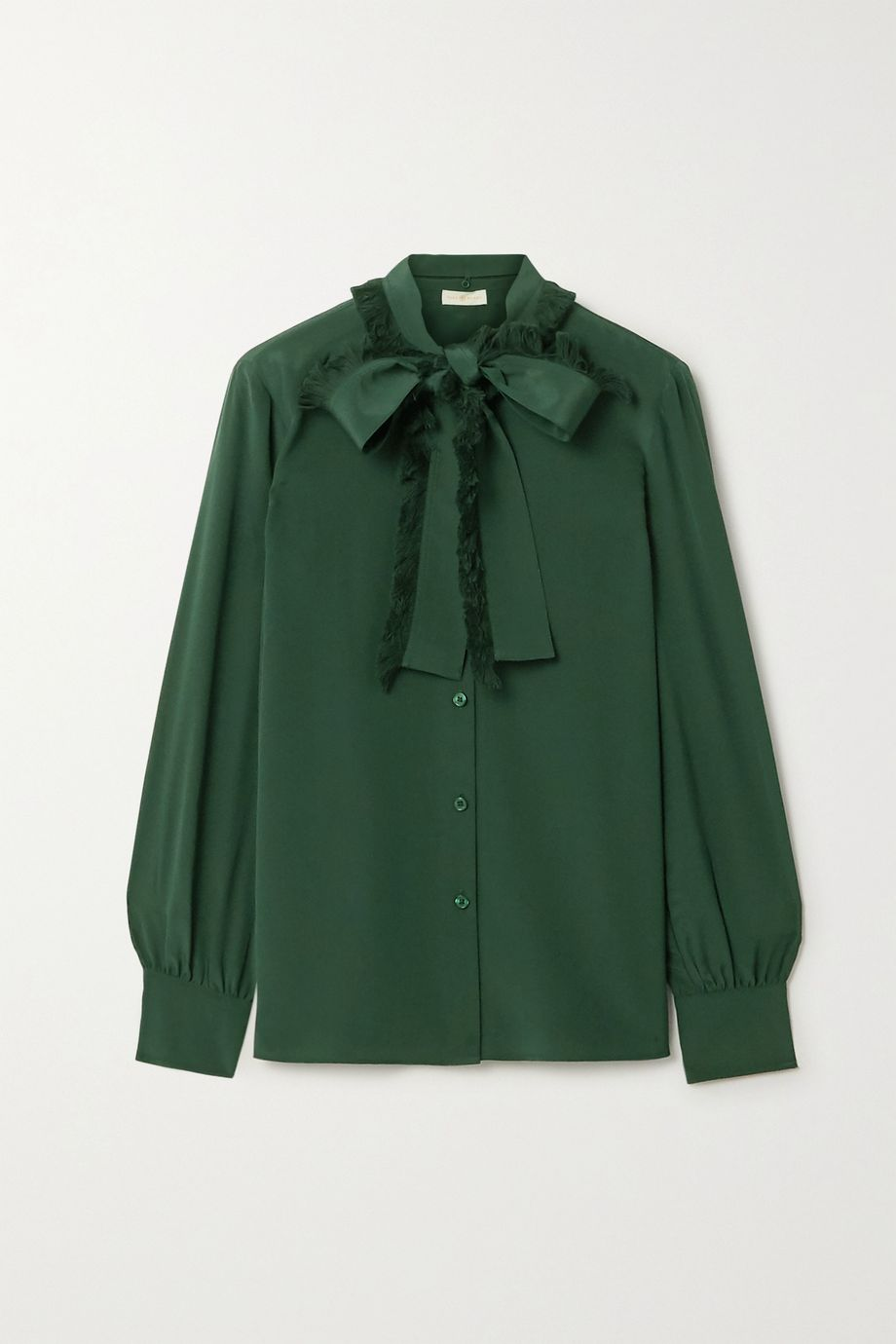 Tory Burch Pussy-bow fringed silk crepe de chine shirt