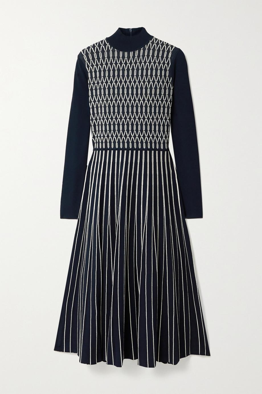 Tory Burch Pleated stretch jacquard-knit midi dress