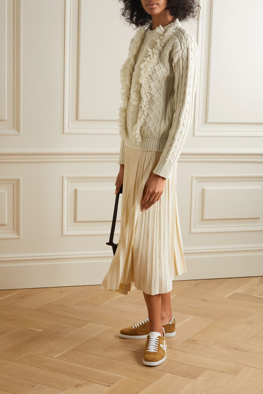 Tory Burch Fringed cable-knit wool sweater