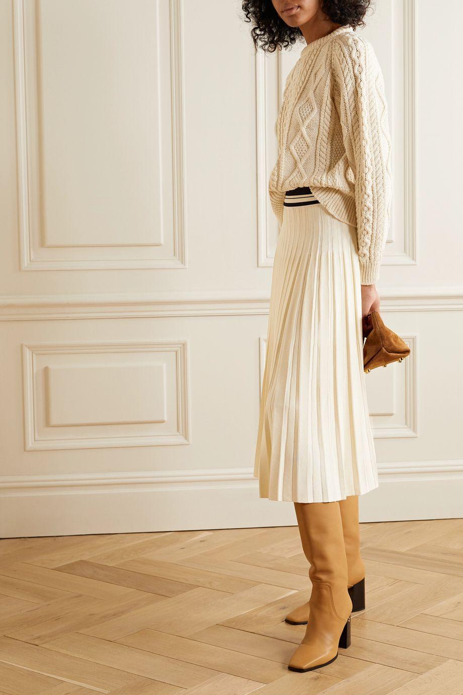 Tory Burch Pleated stretch-knit midi skirt