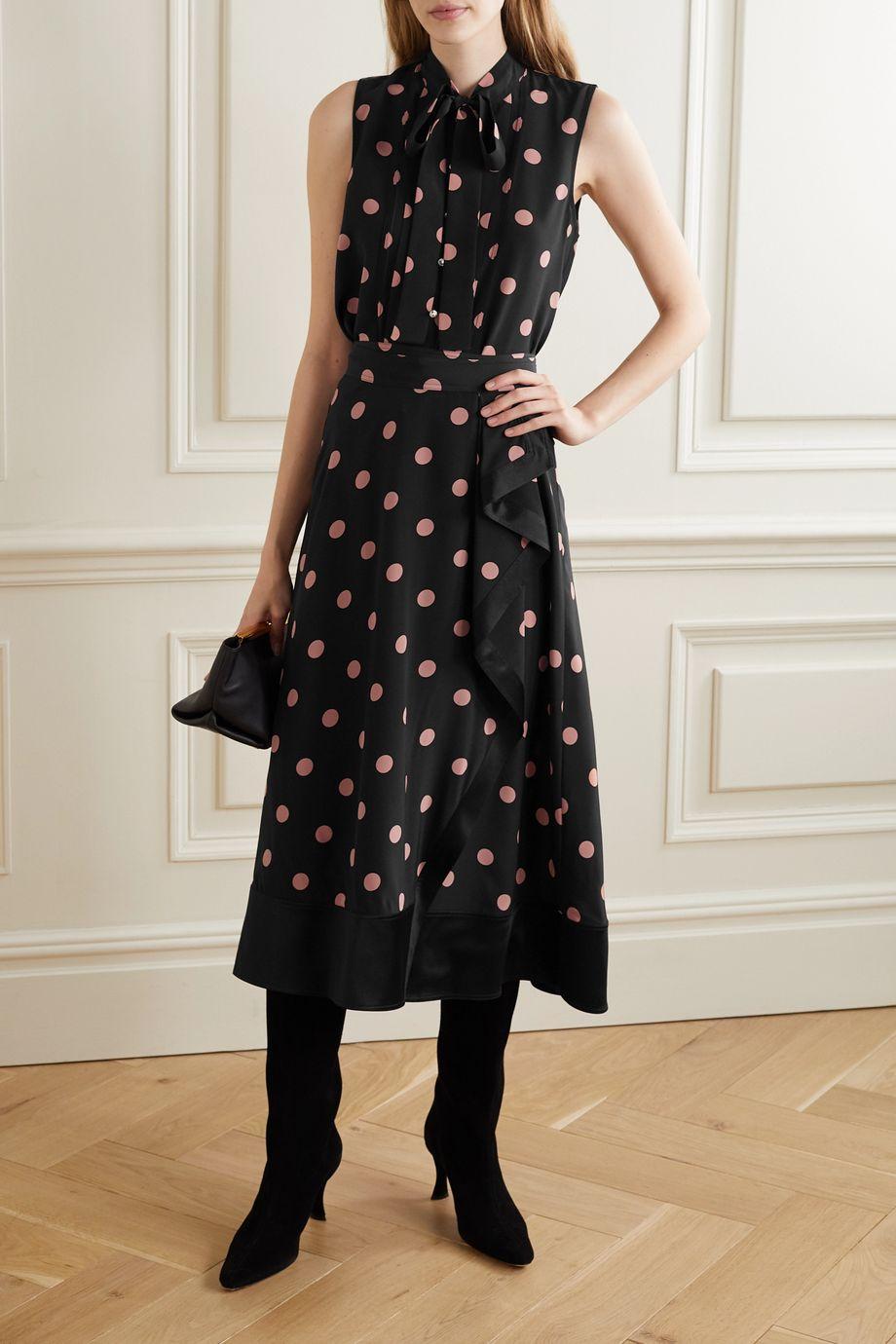 Tory Burch Crystal-embellished polka-dot silk-crepe top