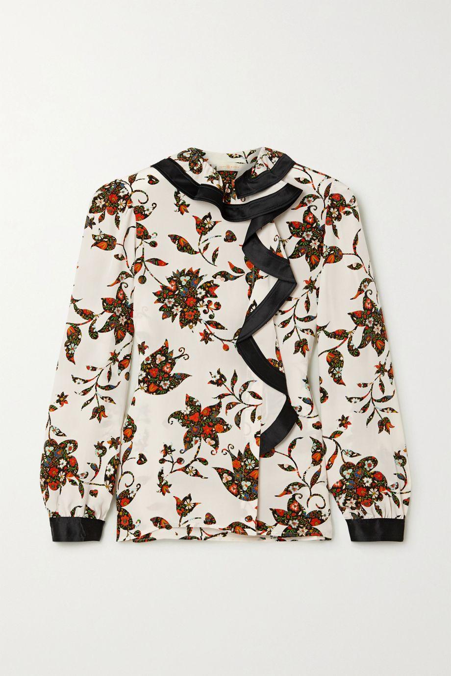 Tory Burch Ruffled floral-print silk crepe de chine wrap blouse