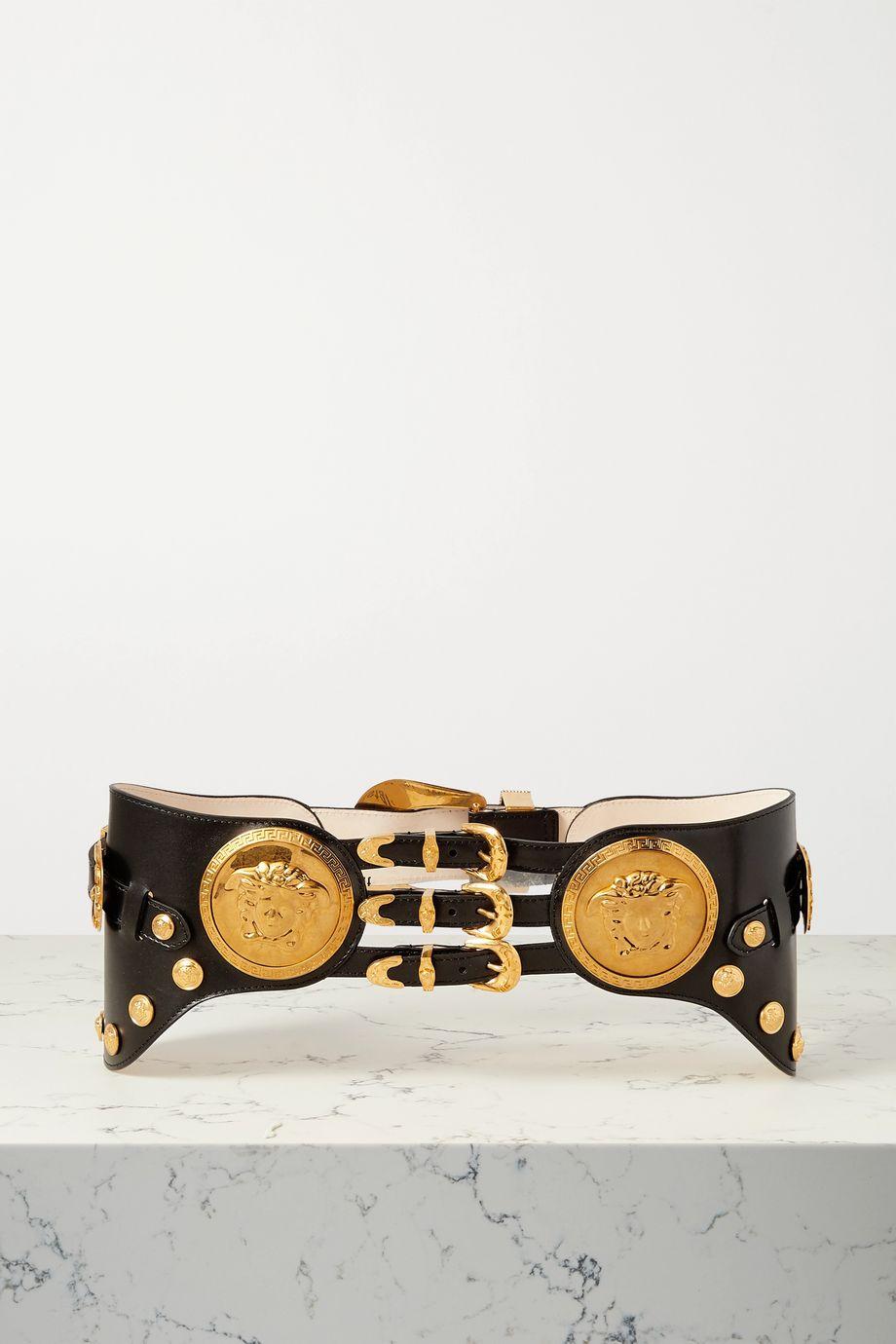 Versace Embellished leather belt