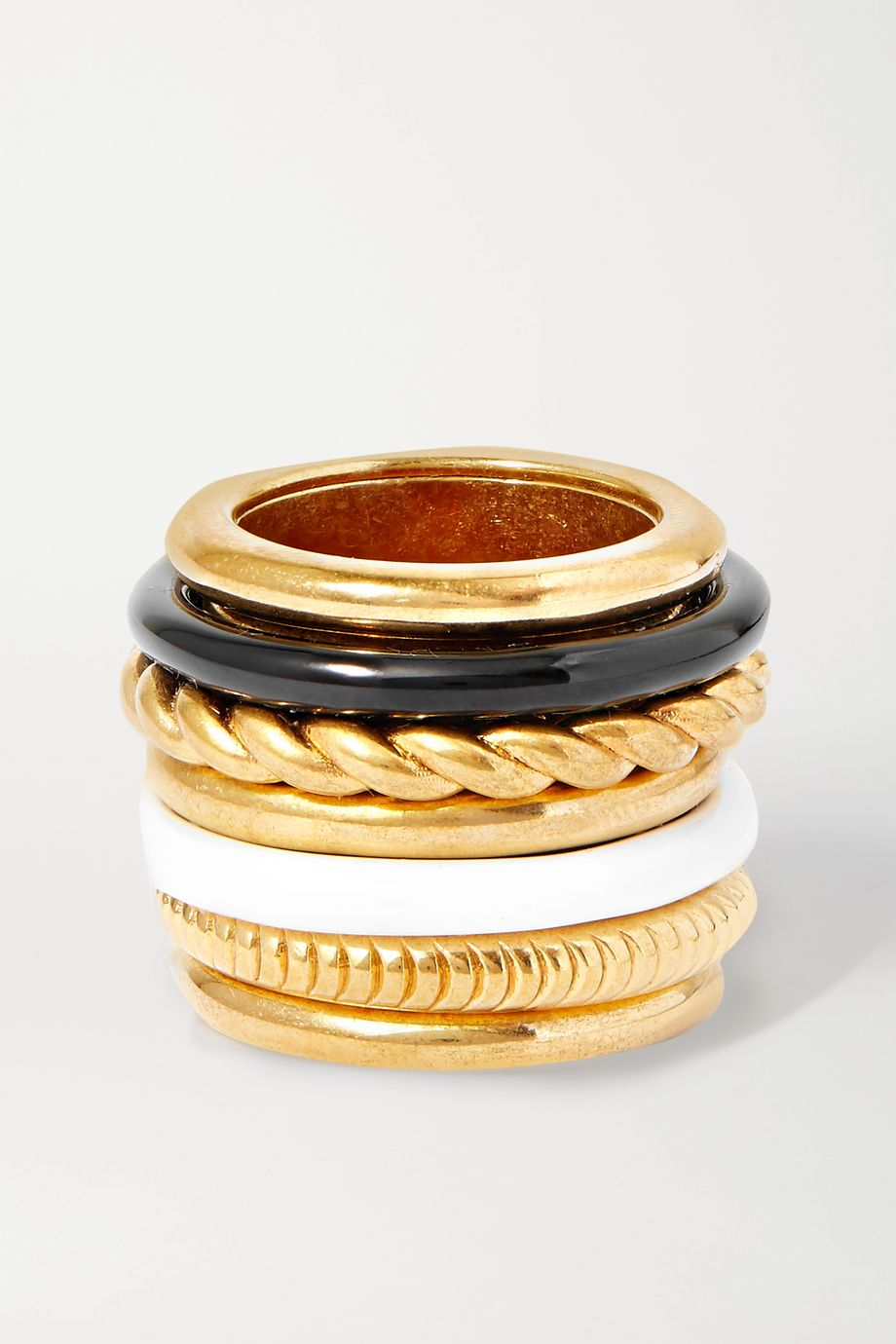 Balenciaga Gold-tone and enamel ring