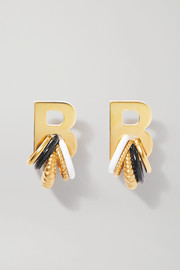 Gold-tone and enamel earrings