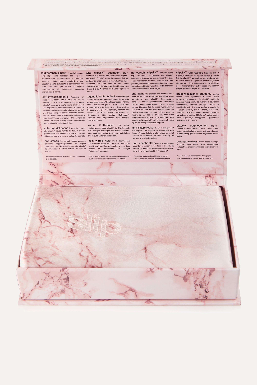 Slip Embroidered marbled silk queen pillowcase