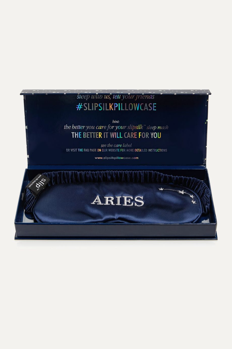 Slip Aries embroidered mulberry silk eye mask