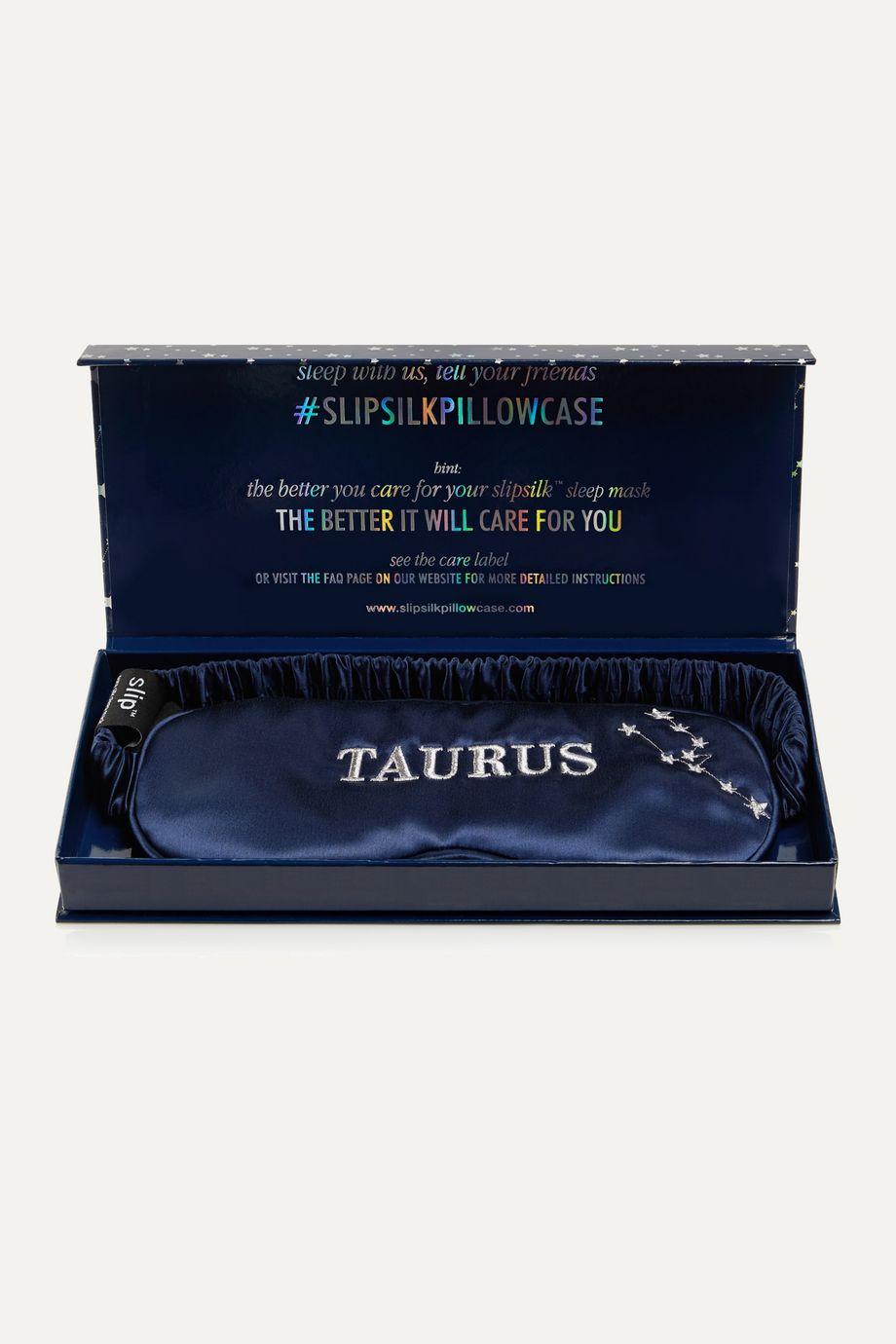 Slip Masque pour les yeux en soie de mûre à broderies Taurus