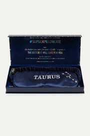 Taurus embroidered mulberry silk eye mask