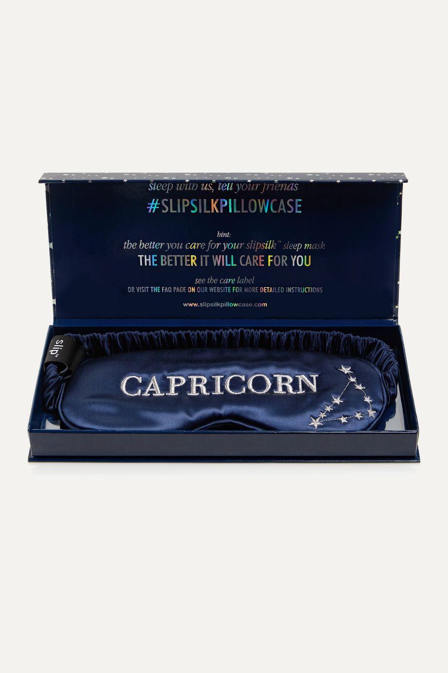 Slip Masque pour les yeux en soie de mûre à broderies Capricorn