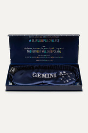 Gemini embroidered mulberry silk eye mask