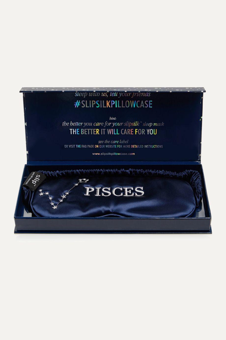 Slip Masque pour les yeux en soie de mûre à broderies Pisces