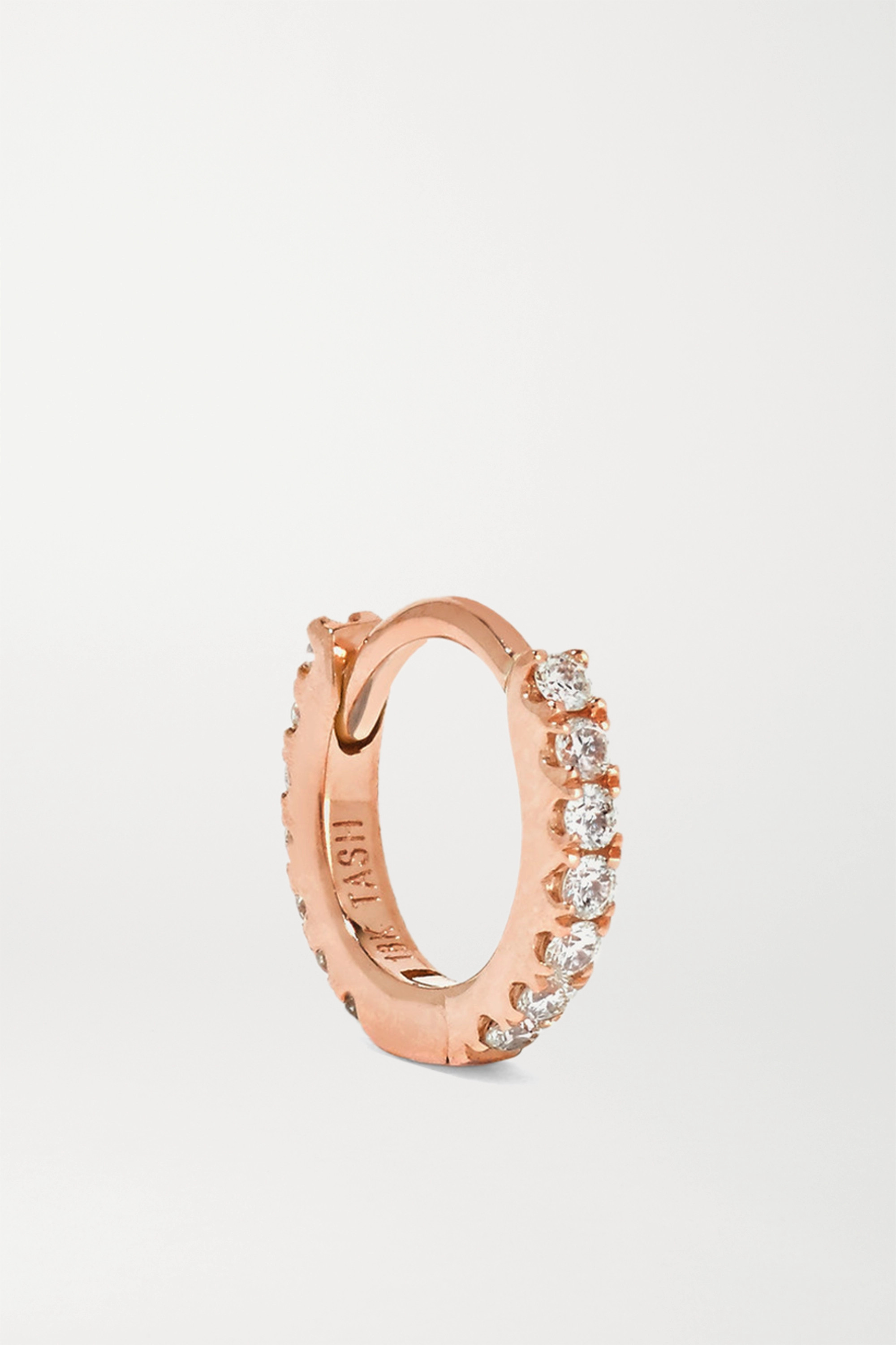 Maria Tash 5mm 18-karat rose gold diamond hoop earring