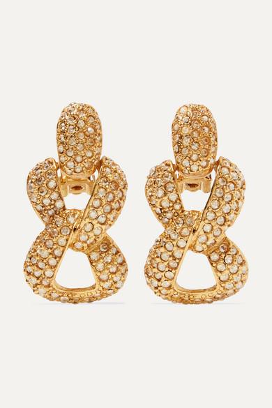 Gold Tone And Crystal Clip Earrings by Oscar De La Renta