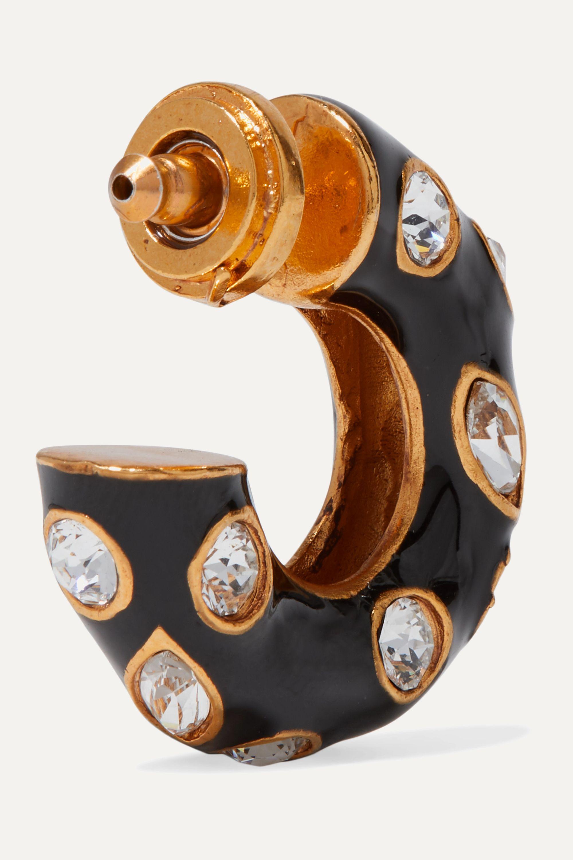 Oscar de la Renta Gold-tone, enamel and crystal hoop earrings