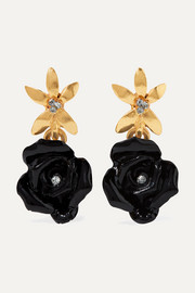 Oscar de la Renta Gold-tone, resin and crystal earrings