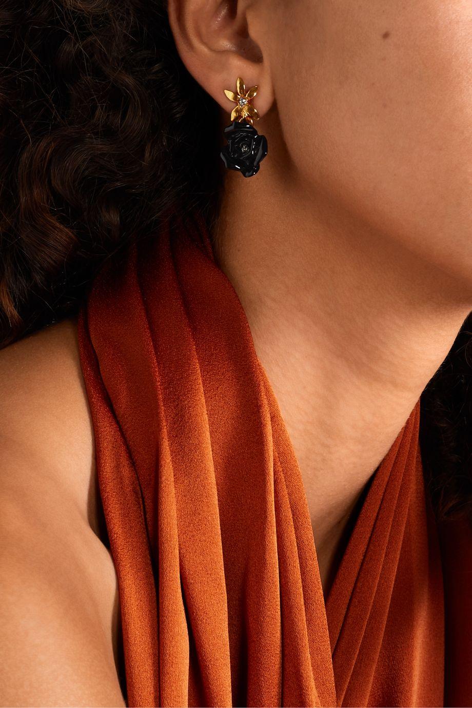 Oscar de la Renta Gold-tone, resin and crystal earrings