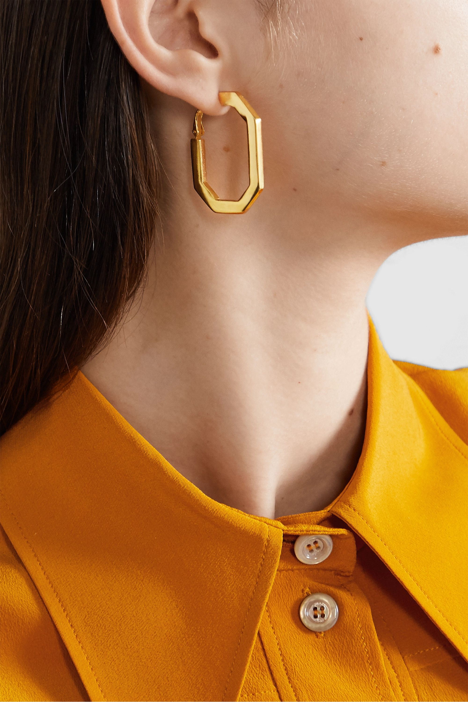 Oscar de la Renta Convertible gold-tone and carnelian earrings