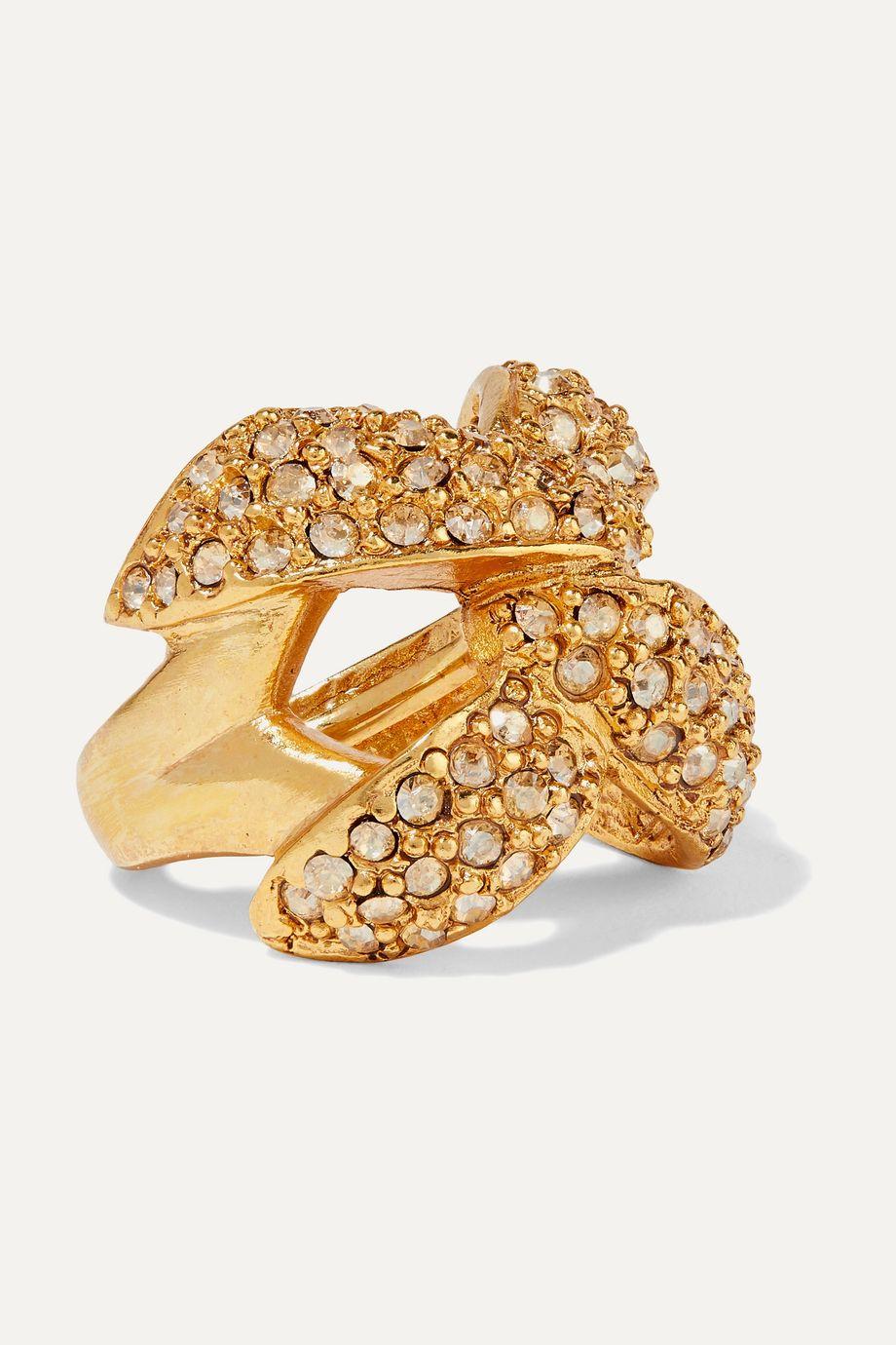 Oscar de la Renta Gold-tone and crystal ring