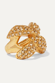 Gold-tone and crystal ring