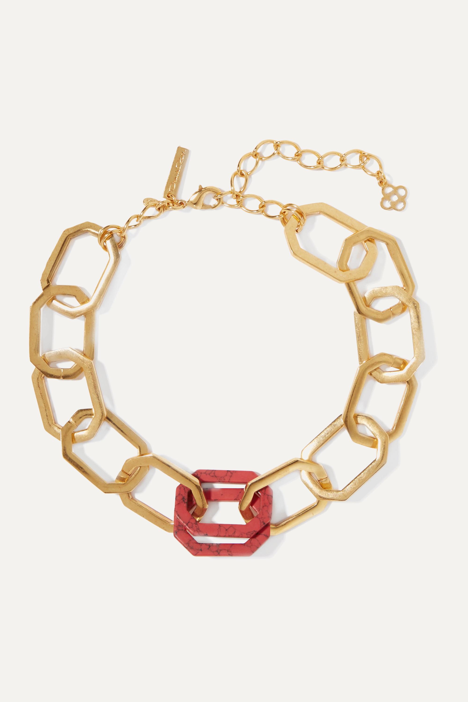 Oscar de la Renta Gold-tone carnelian necklace