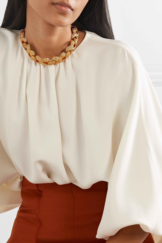 Oscar de la Renta Gold-tone and crystal necklace