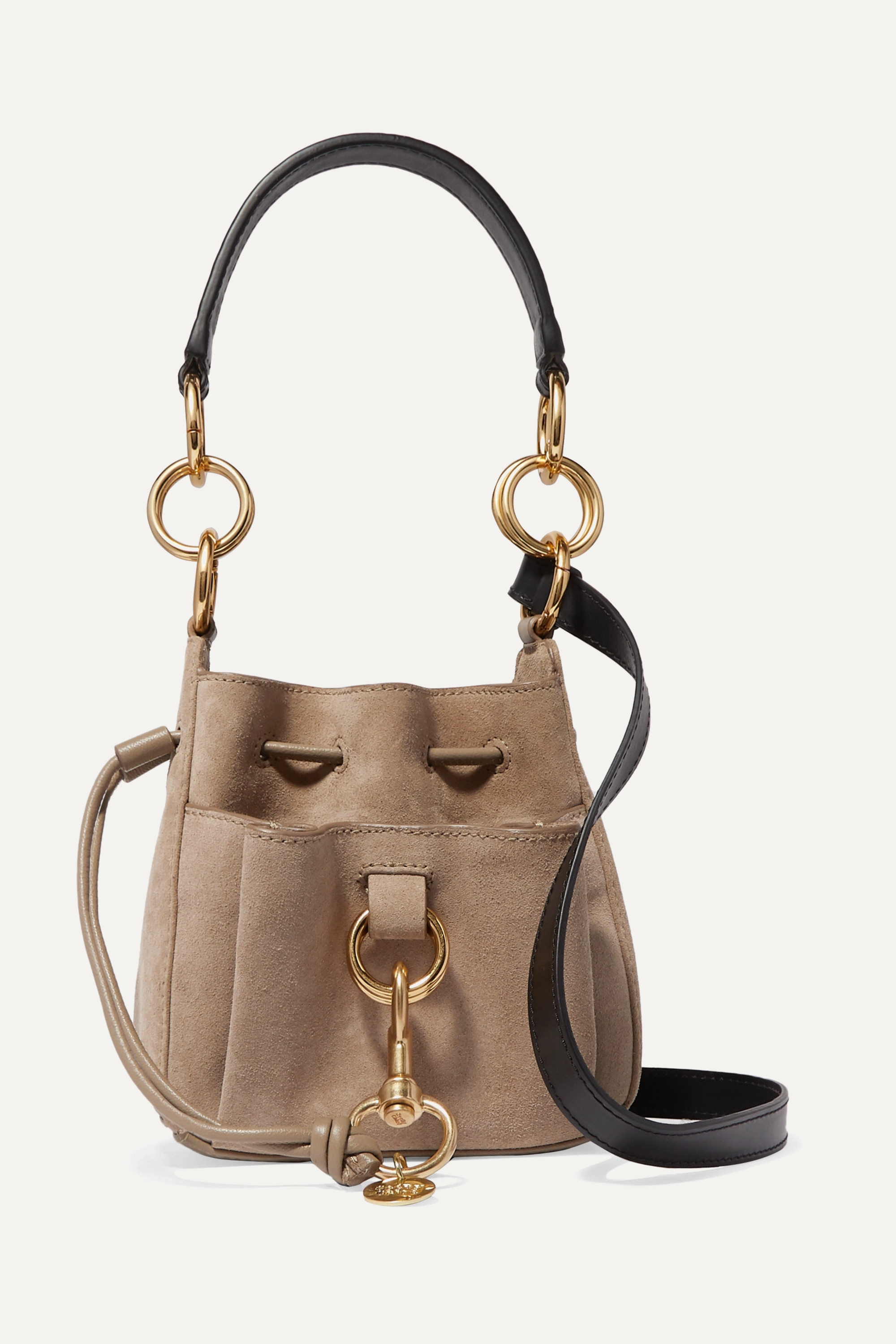 Neutral Tony Small Suede And Textured Leather Bucket Bag See By Chloe Net A Porter