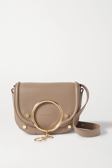 Mara Embellished Textured Leather Shoulder Bag by See By Chloé