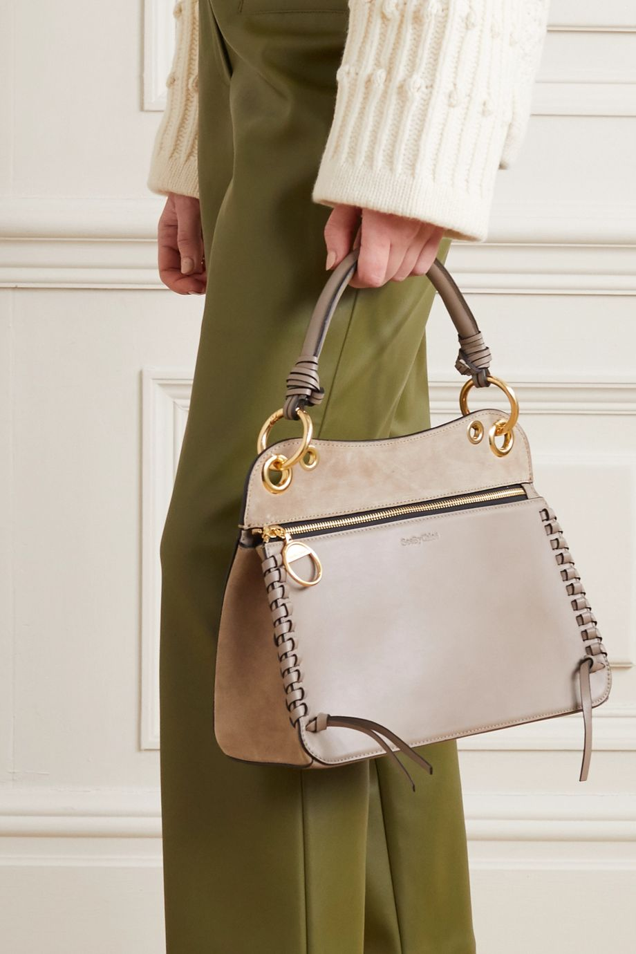 See By Chloé Tilda whipstitched leather and suede shoulder bag