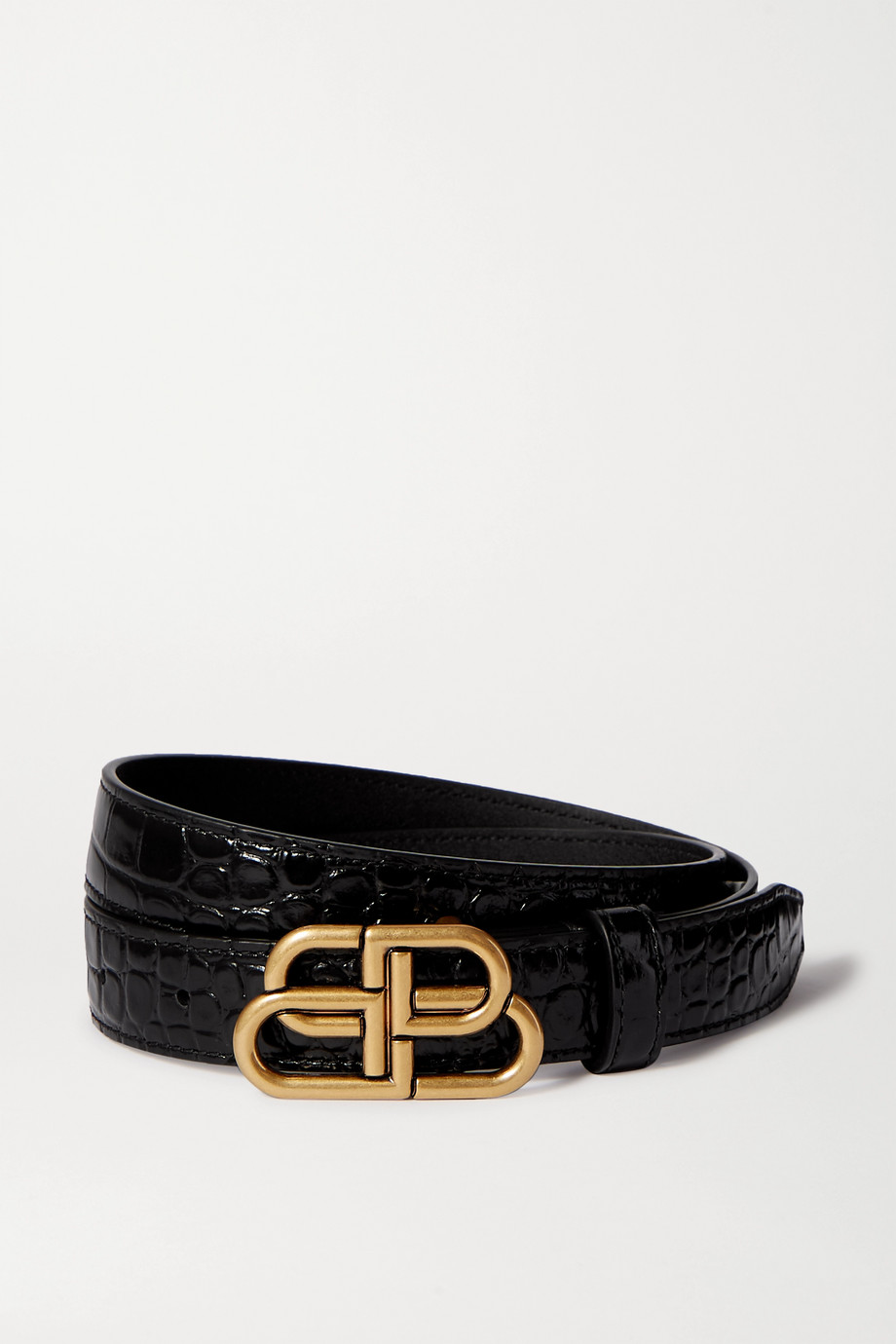 Balenciaga Embellished glossed croc-effect leather belt