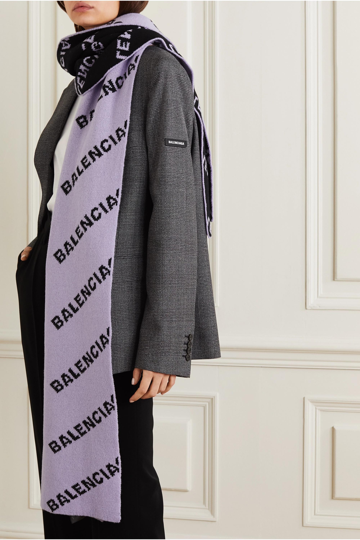 Balenciaga Logo-intarsia wool-blend scarf