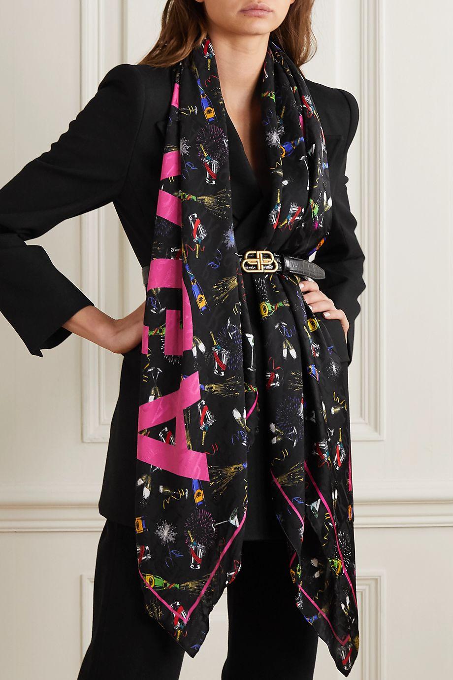 Balenciaga Printed silk-twill scarf